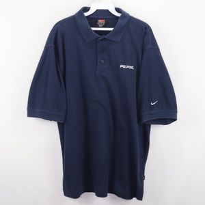 Vintage Nike Pepsi Co Spell Out Polo Shirt Blue L
